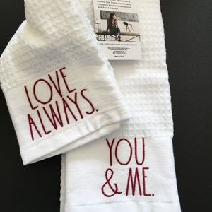 Rae Dunn ✨YOU & ME + LOVE ALWAYS✨ Kitchen Towels